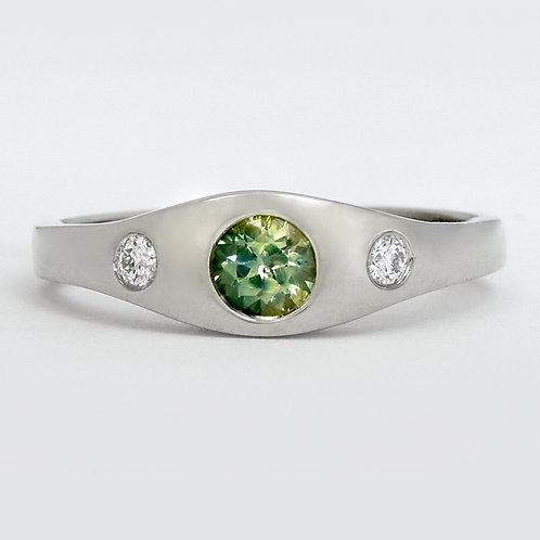 14KW Sapphire Gypsy Set Ring with Flush Diamonds