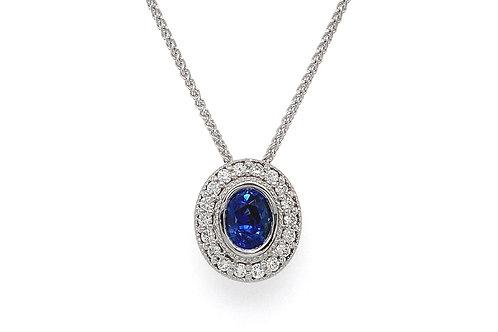 14KW Sapphire Pendant with Diamond Halo
