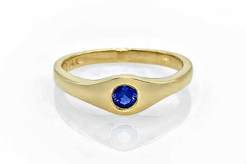14KY Gypsy Set Sapphire Ring