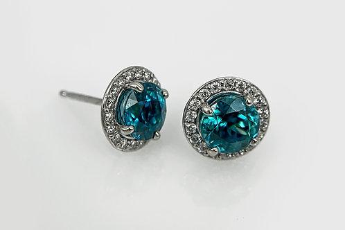 14KW Blue Zircon Stud Earrings with Diamond Halo