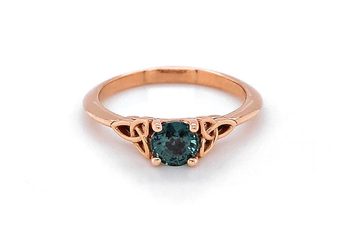 14KR Teal Change-of-Color Sapphire Ring