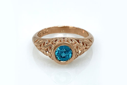 14KR Blue Zircon Ring