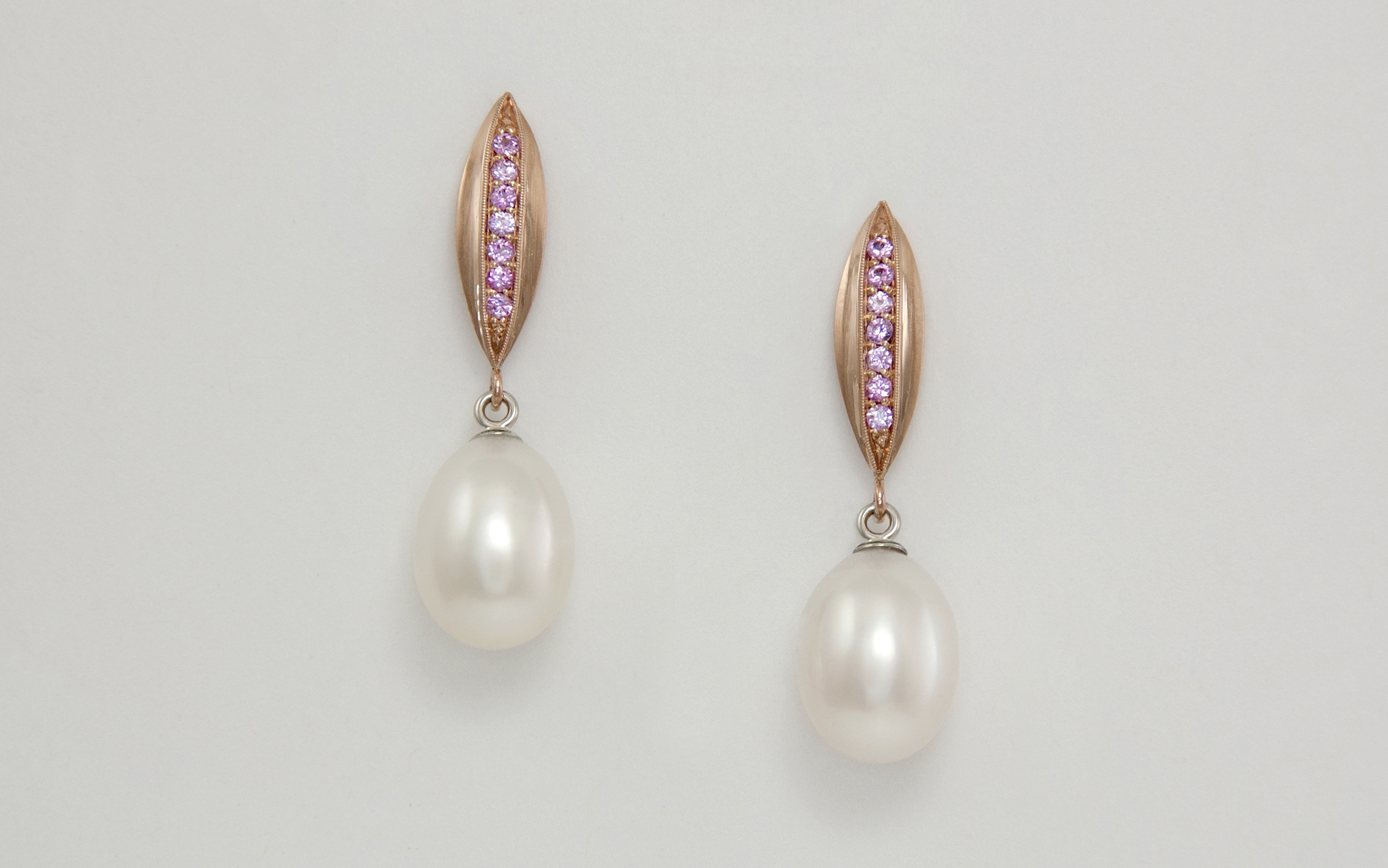 14KR&W Freshwater Pearl and Baby Pink Sapphire Drop Earrings