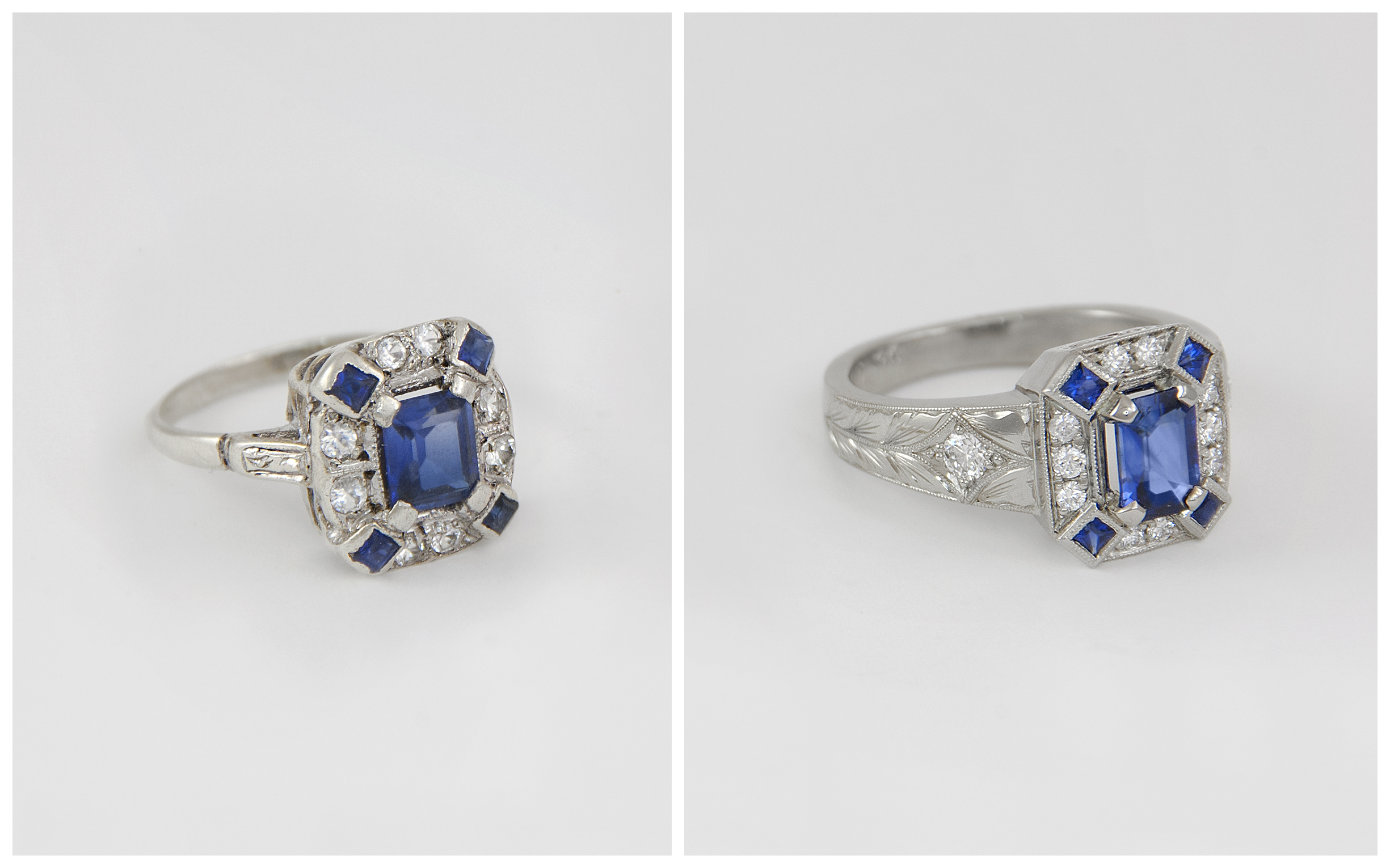 Emerald Cut Sapphire Vintage Inspired Ring B&A