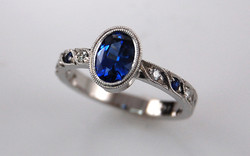 Oval Sapphire with Bead Set Diamond & Sapphire Accents