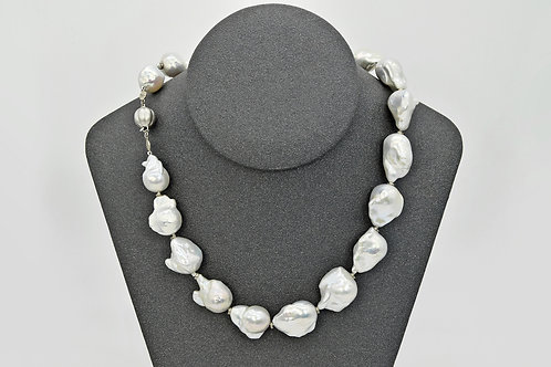 Baroque Pearl Strand with White Gold Beads