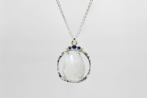 Sterling/14KY Moonstone Pendant with Sapphires