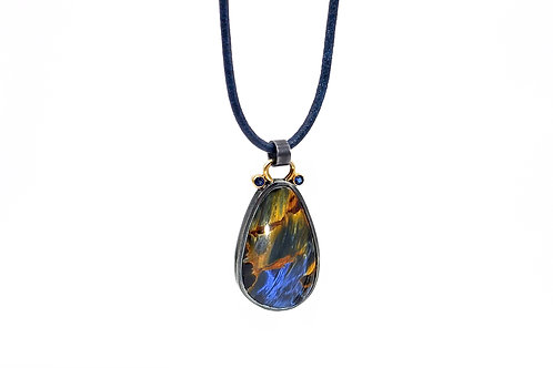 Sterling Silver & 14KY Pietersite and Sapphire Pendant