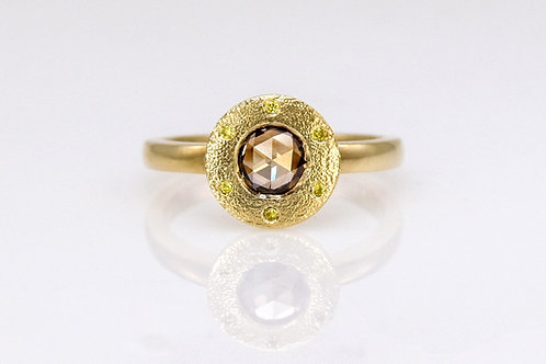 14KY Rose Cut Brown Diamond Ring With Yellow Diamond Accent
