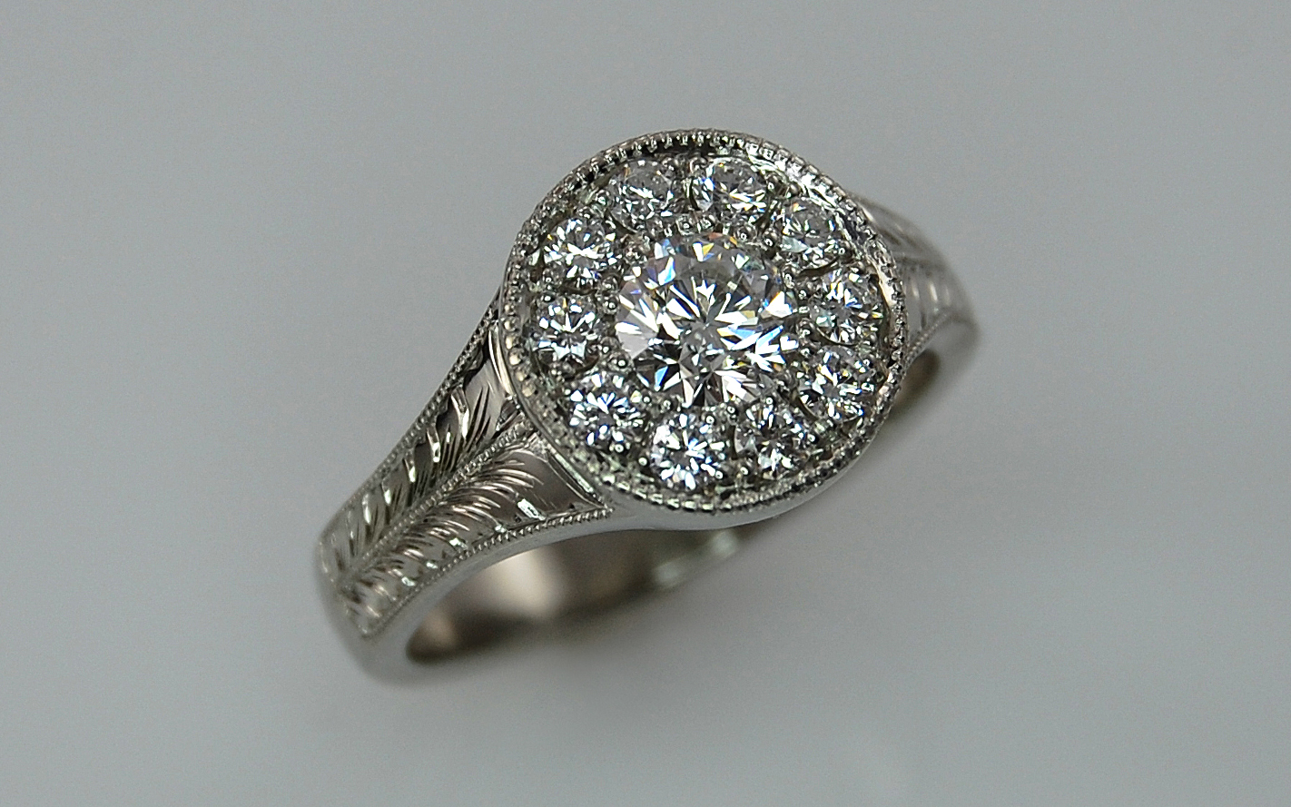 Hand Engraved .68 carat total Diamond Halo