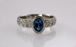 Aquamarine & Double Row Bead Set Diamond