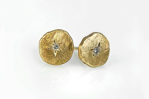"14KY ""Pebble"" Earring with Diamond"