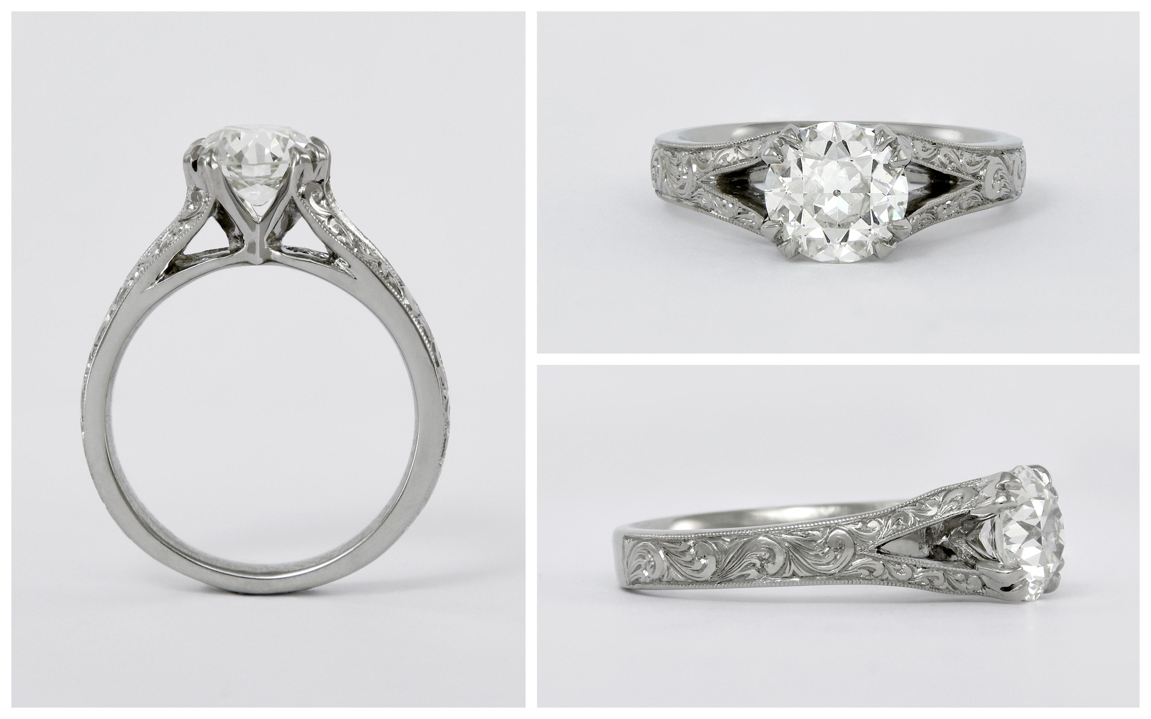 Hand Engraved Split Shank Diamond Ring