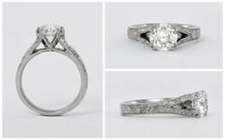 Hand Engraved Split Shank Diamond Ring