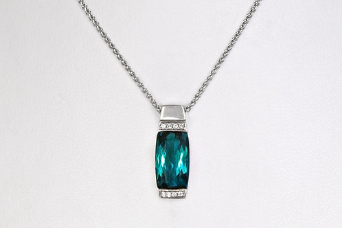 14KW Custom Blue-Green Tourmaline Pendant