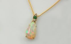 Pear Shaped Ethiopian Opal & Demantoid Garnet