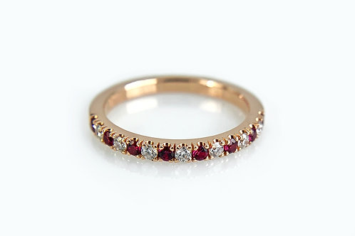 14KR French Set Ruby and Diamond Band