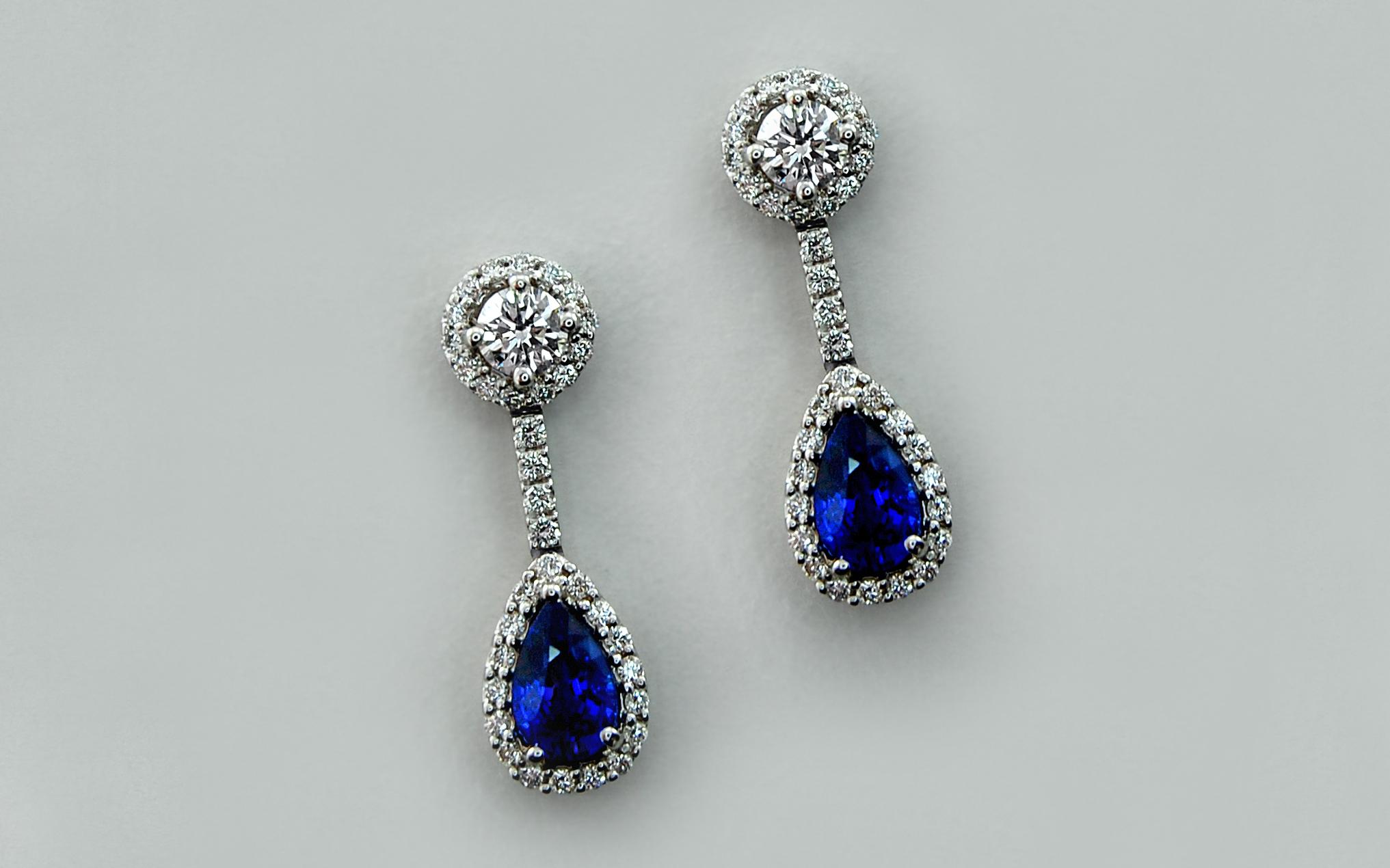 Sapphire & Diamond Halo Drops