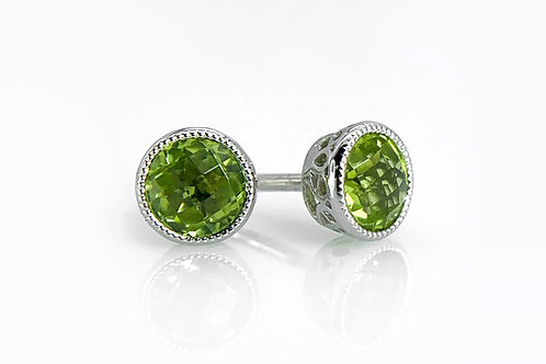 14KW Round Checkerboard Cut Peridot Earrings