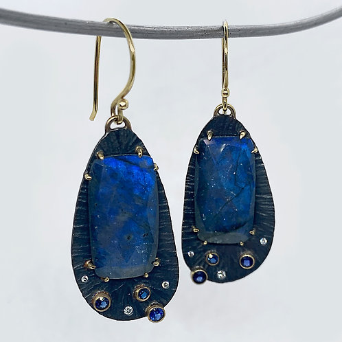 Sterling Silver/14KY Labradorite Earrings with Diamond and Sapphire Accent