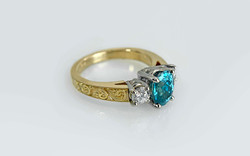 18KY Hand Engraved Blue Zircon and Diamond Ring