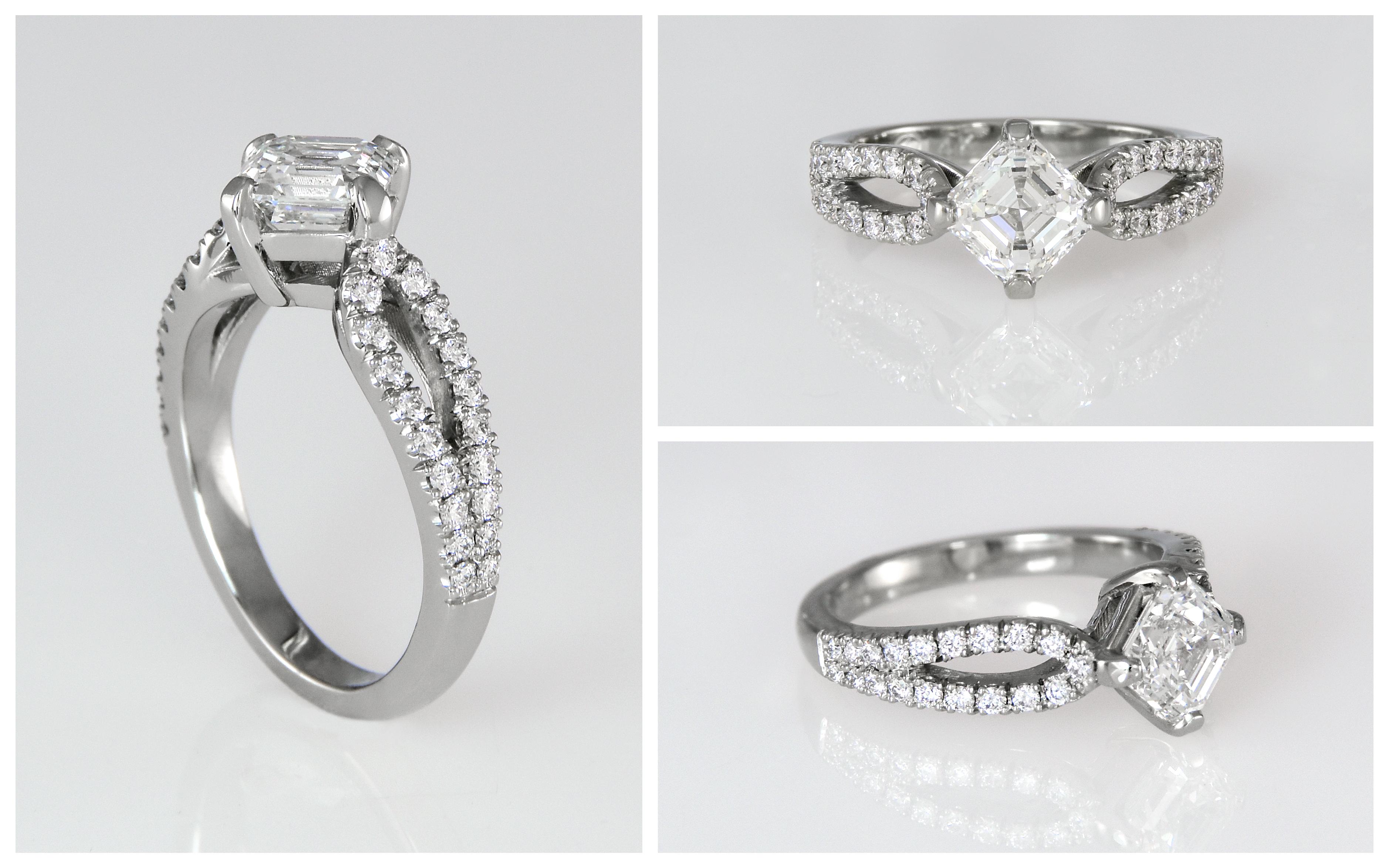 14KX1 Asscher Cut Diamond Engagement Ring