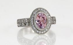 Pink Sapphire Halo with Double Row Bead Set Diamond Band