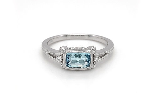 14KW Checkerboard Cut Aquamarine Ring with Diamond Accent