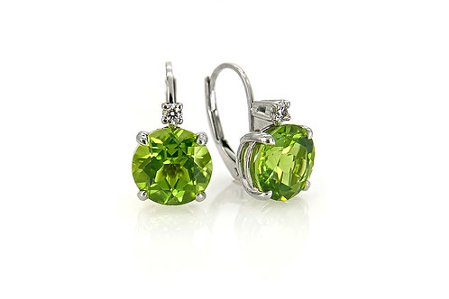 14KW Peridot and Diamond Leverback Earrings