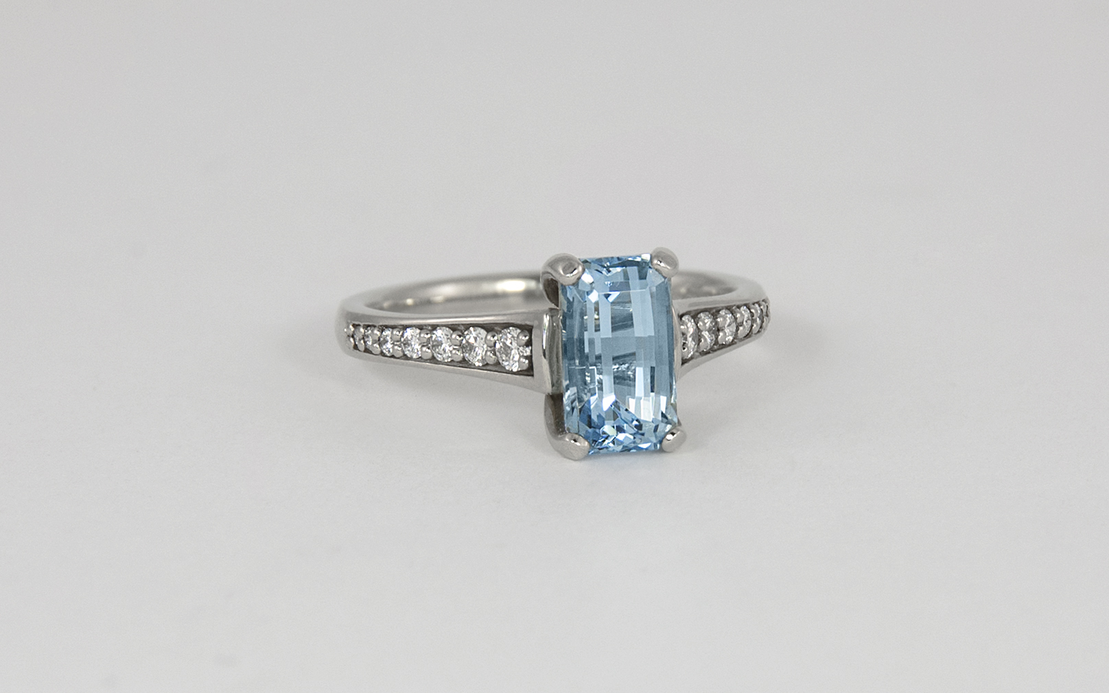 14KW Emerald Cut Aquamarine and Diamond Ring