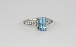 14KW Emerald Cut Aquamarine and Diamond Ring
