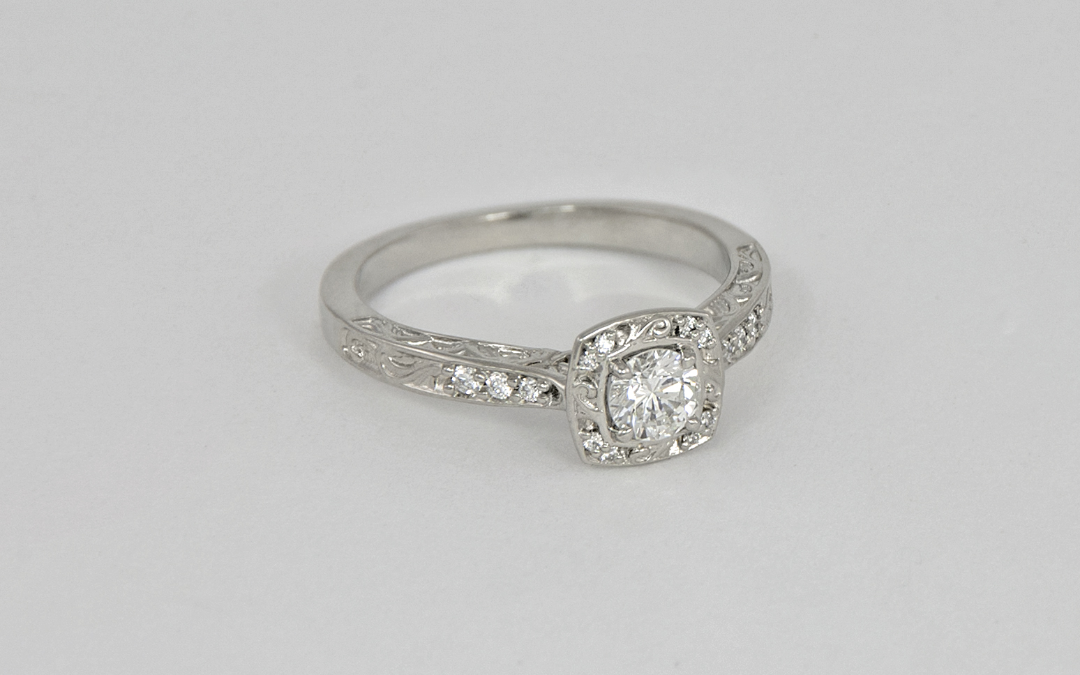 14KW Scroll and Diamond Accented Engagement Ring