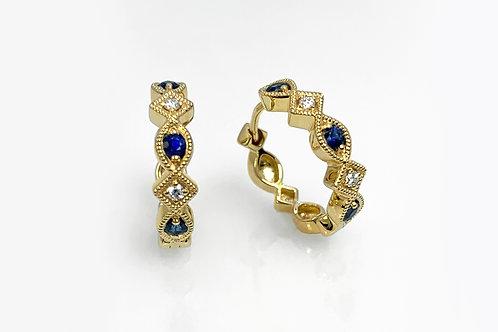 14KY Sapphire and Diamond Huggie Hoop Earrings