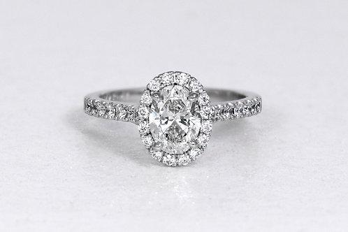 Platinum Halo Style Oval Diamond Engagement Ring
