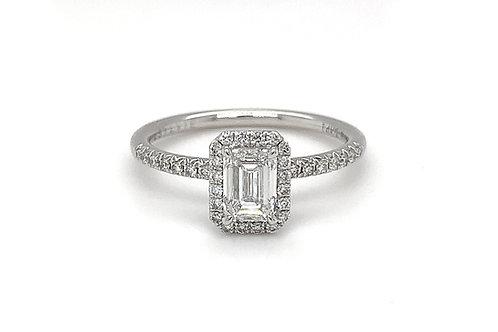 14KW Emerald Cut Diamond Ring with Halo