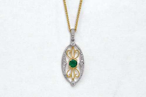 14K Two Tone Emerald and Diamond Pendant