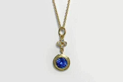 18KY Bezel Set Sapphire Pendant with Diamond Accent