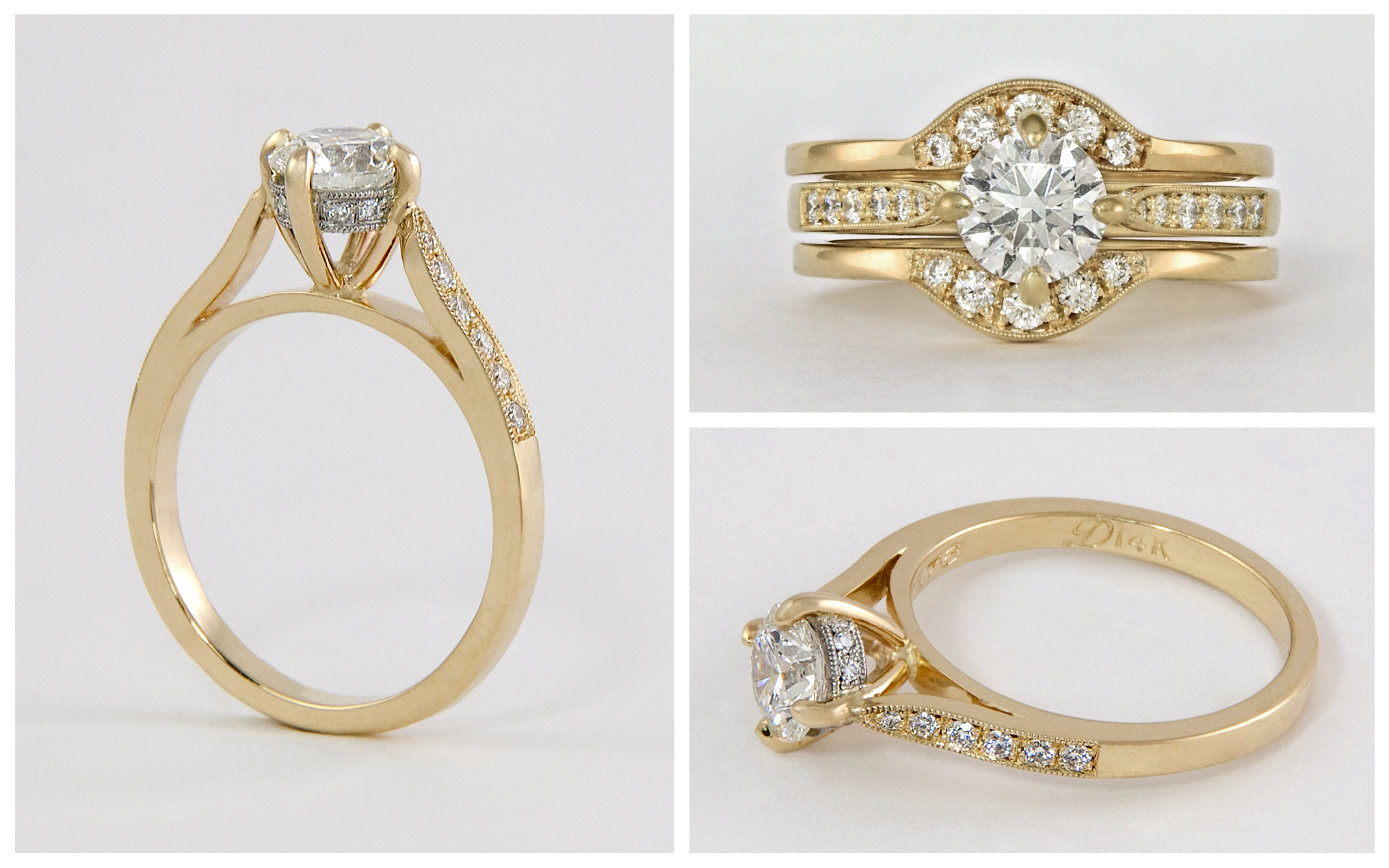 14KY and Platinum Hand Fabricated Diamond Engagement Ring and Band
