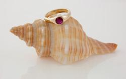 14 KW Gypsy Style Flush Set .53 carat Ruby Ring