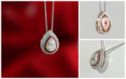 Pear Shaped Diamond Pendant with Ruby Halo collage