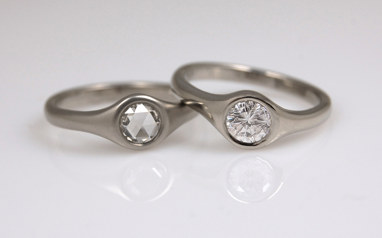Flush Bezel Diamond Rings