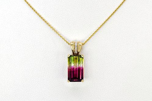 14KY Emerald Cut Bi-Color Tourmaline Pendant