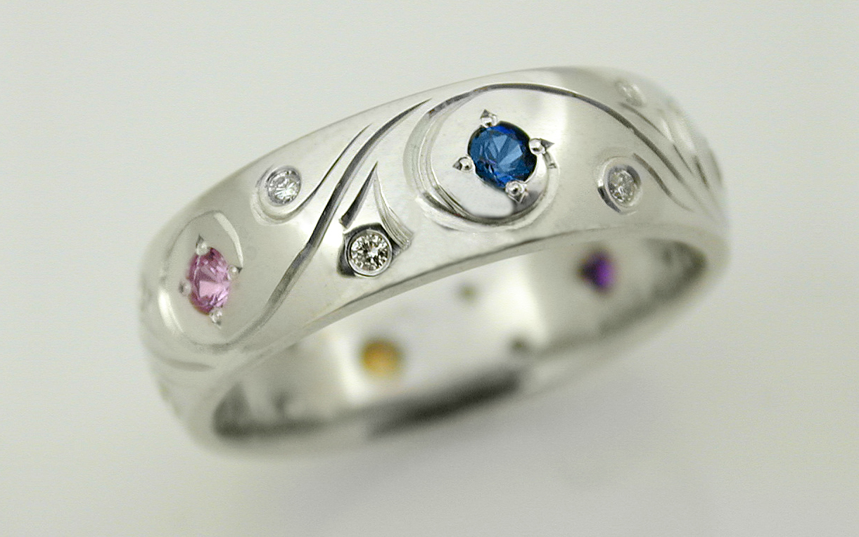 Hand Engraved Band with Multi Color Sapphires