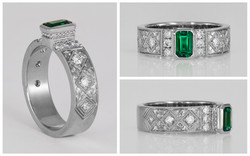 4KX1 Bezel Set Green Stone Ring with Bea