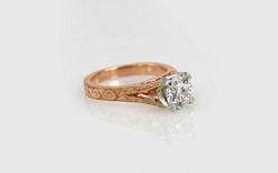 14KR Hand Engraved Diamond Engagement Ring