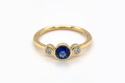 14KY Sapphire Bezel Ring with Diamond Accents