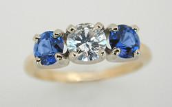 Two Tone 3 Stone with .58 carat Diamond & Sapphires