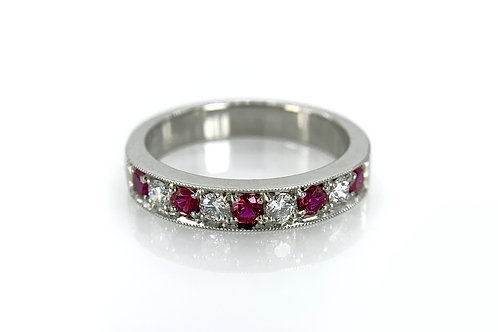 14KW Ruby and Diamond Band