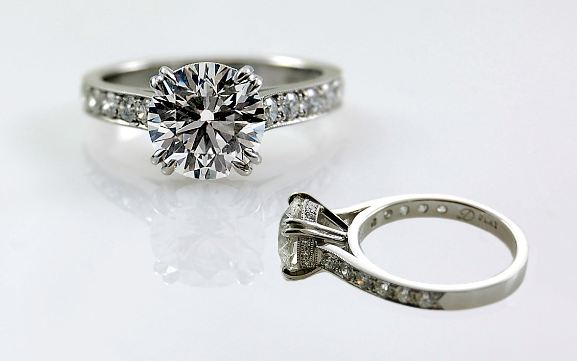 Hand Fabricated 2 Carat with Bead Set Diamond Band & Gallery Wires