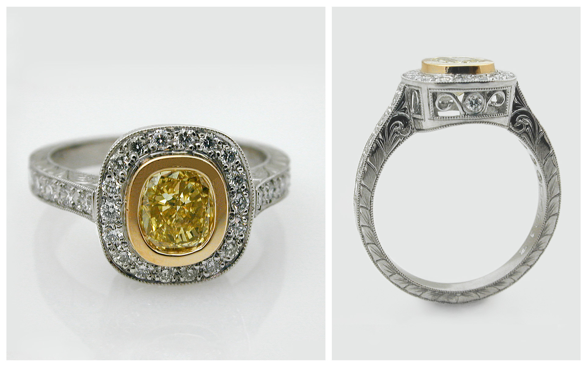 Hand Engraved Natural Fancy Yellow Diamond Halo